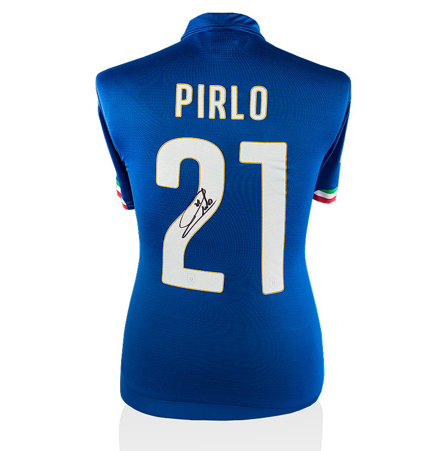 afdd4aae8 Andrea Pirlo Back Signed Italy 2014-15 Home Shirt Autograph Jersey ...