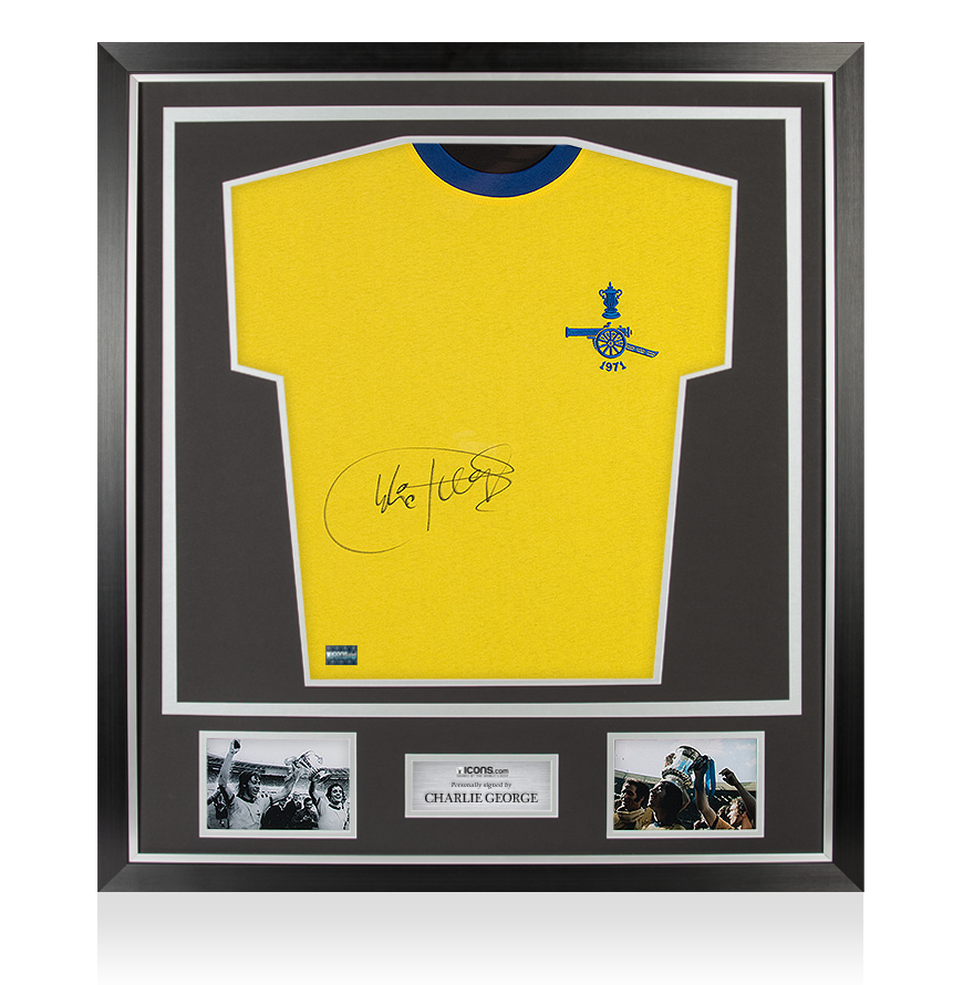 Charlie George Signed Arsenal 1971 Double Winners Shirt In Classic Frame