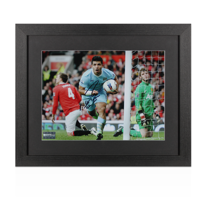 Sergio Aguero Signed Manchester City Photo In Black Wooden ...