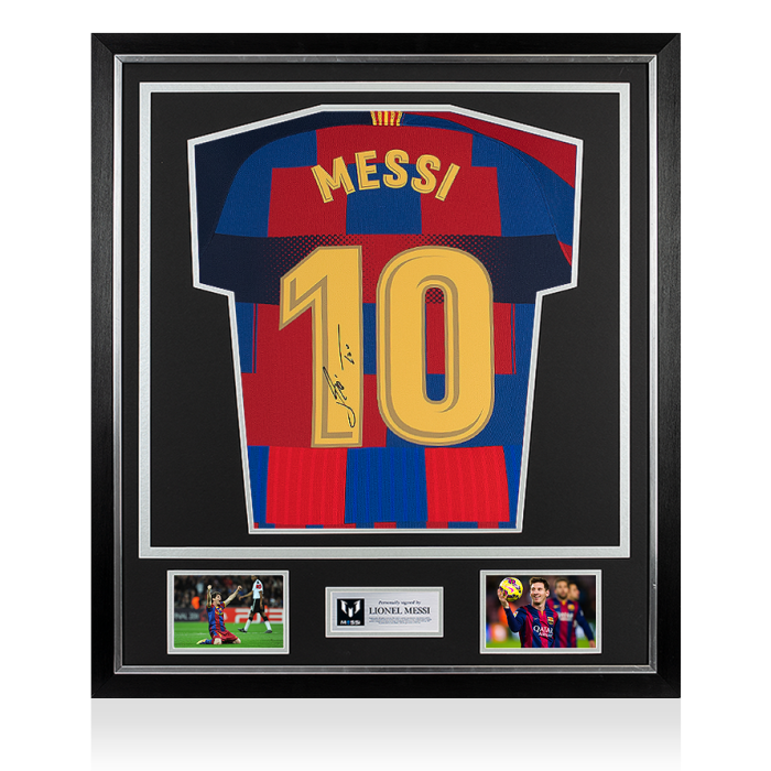 fuga atributo yo mismo  Lionel Messi Official Back Signed FC Barcelona Home Shirt In Classic Frame: Nike  20-Year Anniversary Special Edition