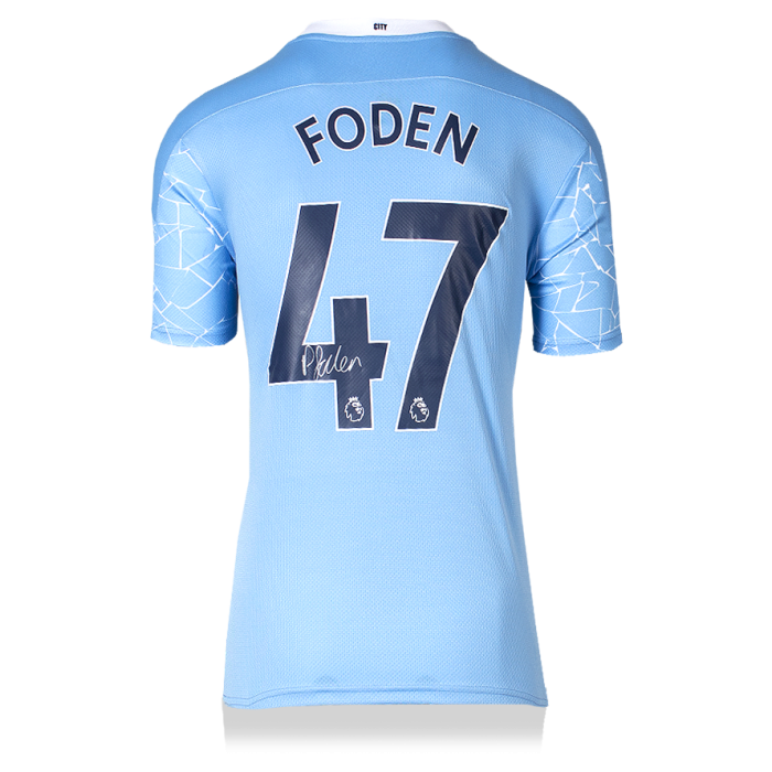 Phil Foden Back Signed Manchester City 2020-21 Home Shirt