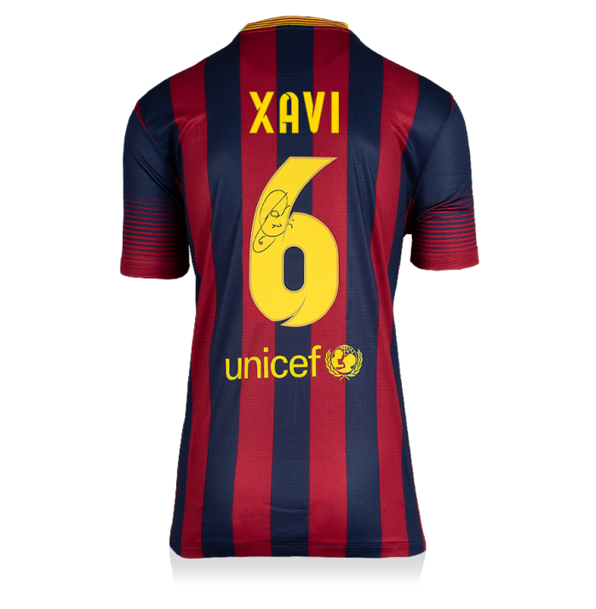 Xavi Back Signed FC Barcelona 2013-14 Home Shirt