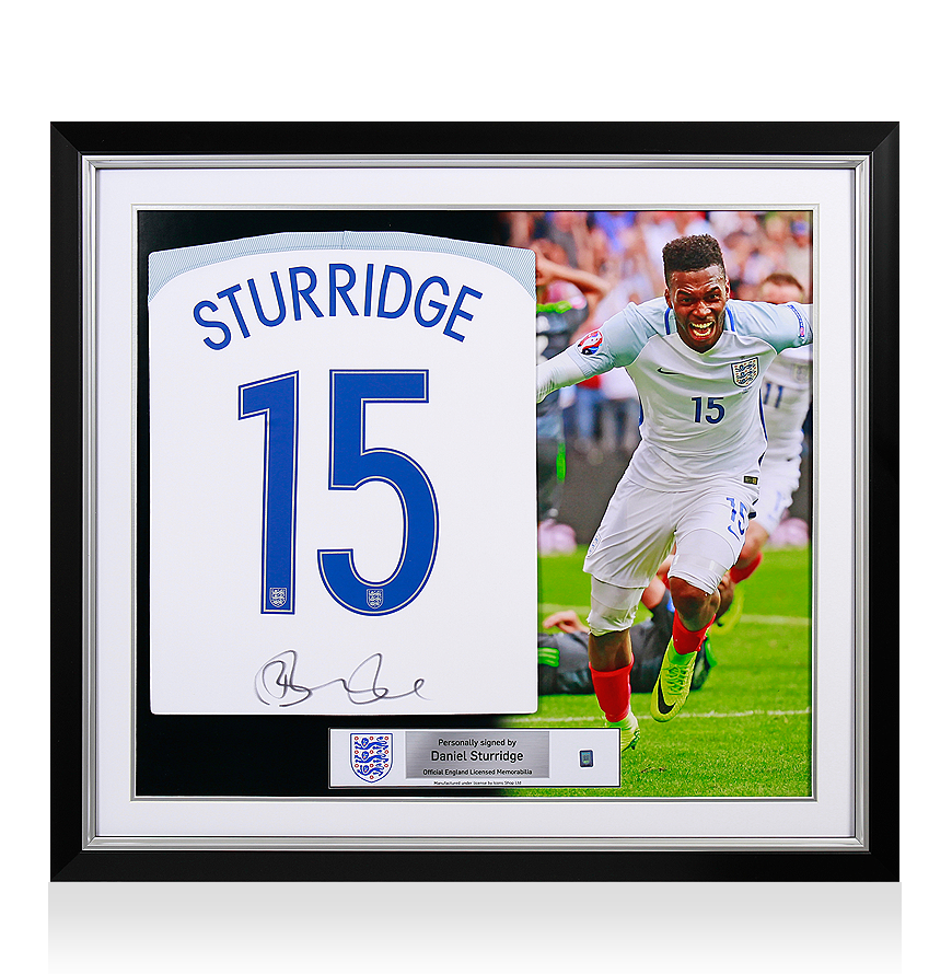Sports Memorabilia Daniel Sturridge Official England Back Signed and Framed 2016-17 Home Shirt