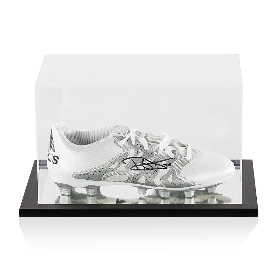 Dele Alli Signed White and Silver Adidas X 15.4 Boot In Acrylic Display Case