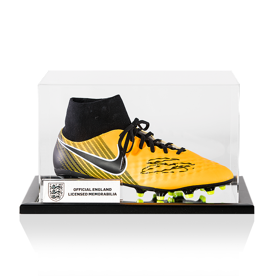 11471720cb7a7 Gary Cahill Official England Black Signed Yellow and Black Nike Magista  Hightop Boot In Acrylic Case