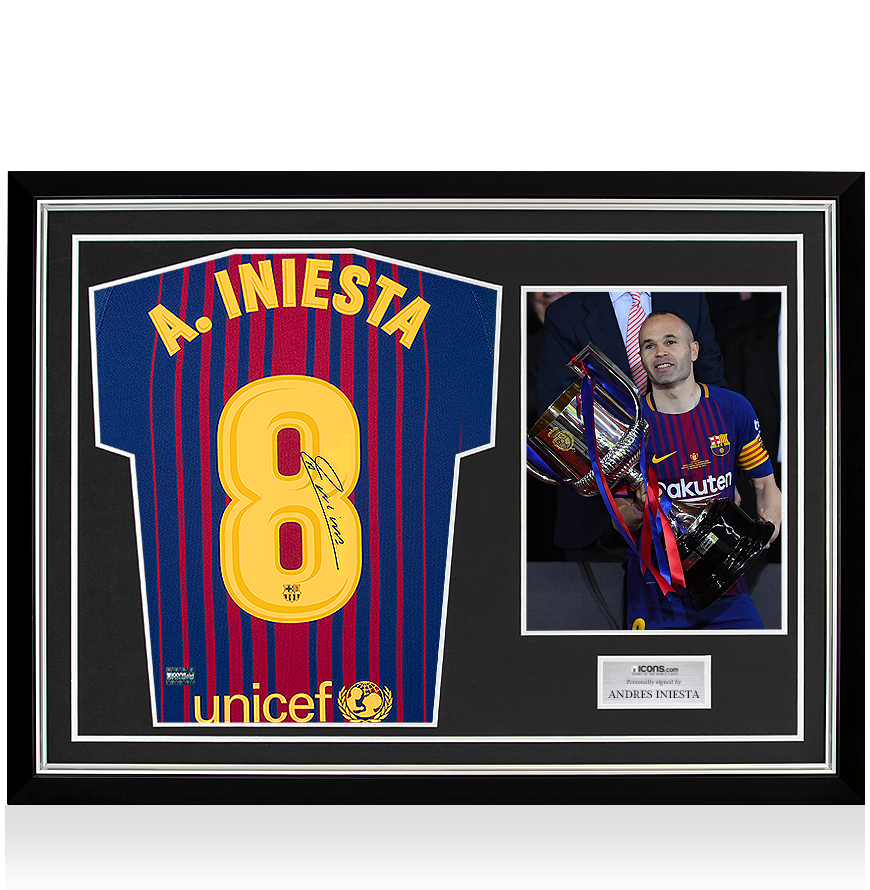 7f23f0bb2 Andres Iniesta Back Signed FC Barcelona 2017-18 Home Shirt In Hero Frame   Option