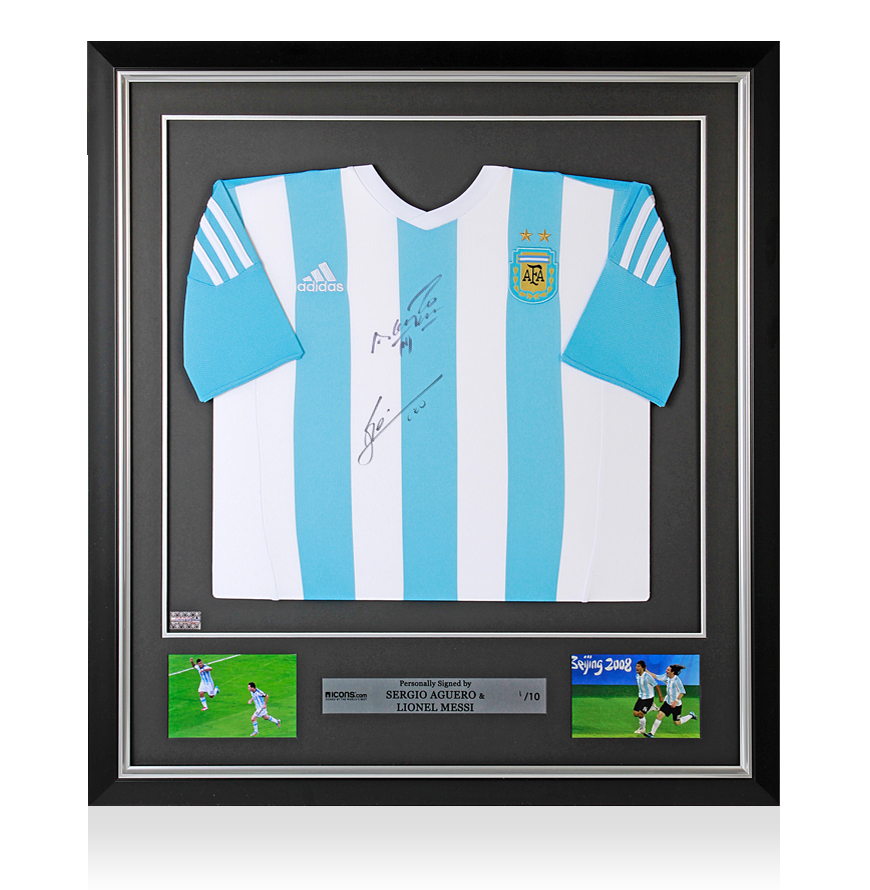 Lionel Messi & Sergio Aguero Front Signed and Framed Argentina 201516 Home Shirt