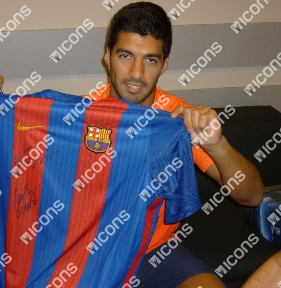 Luis Suarez Not Our C Any More: Lionel Messi, Neymar Jr & Luis Suarez Front Signed