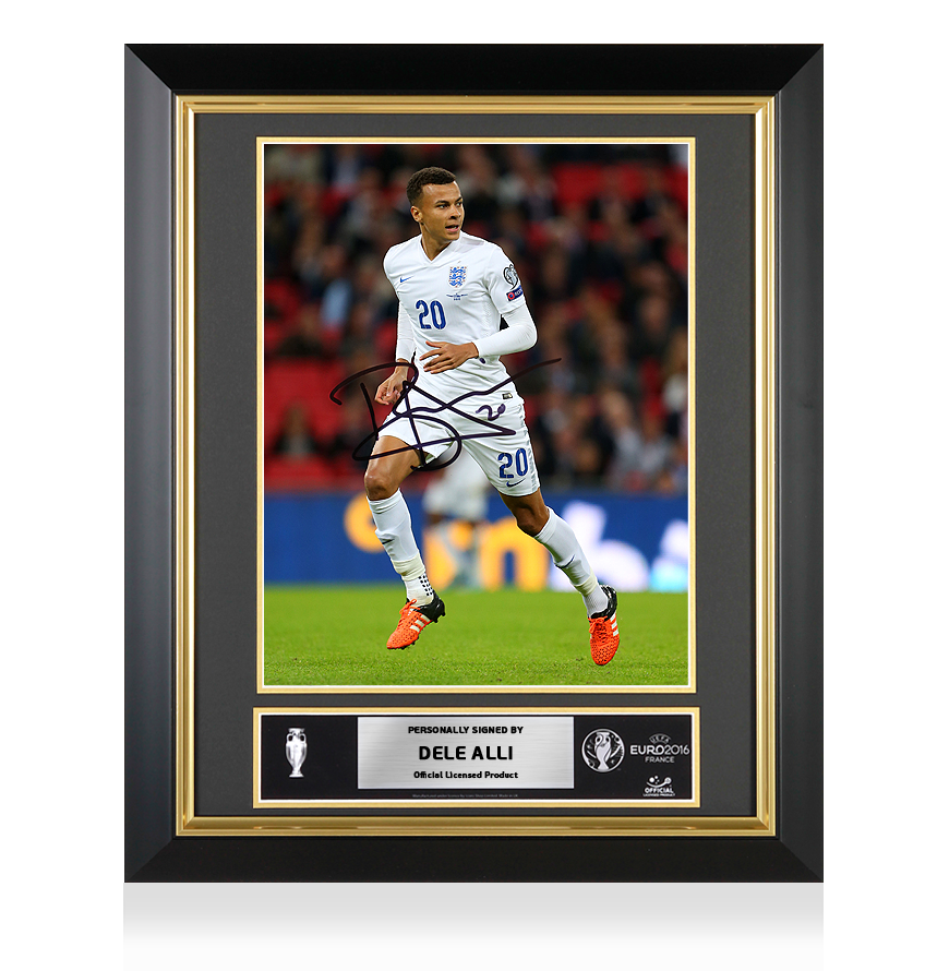 Dele Alli Official UEFA EURO 2016 Signed and Framed England Photo The Three Lions Rising Star