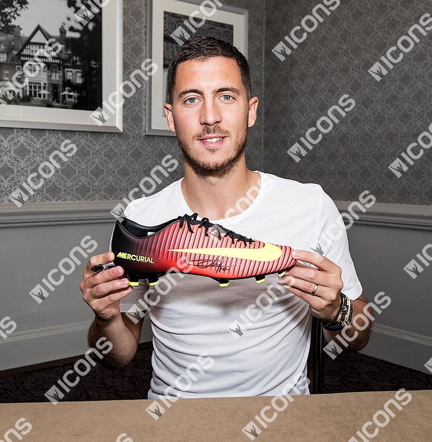 Eden Hazard Signed Orange and Black Nike Mercurial Boot In Acrylic ... 114c2193046