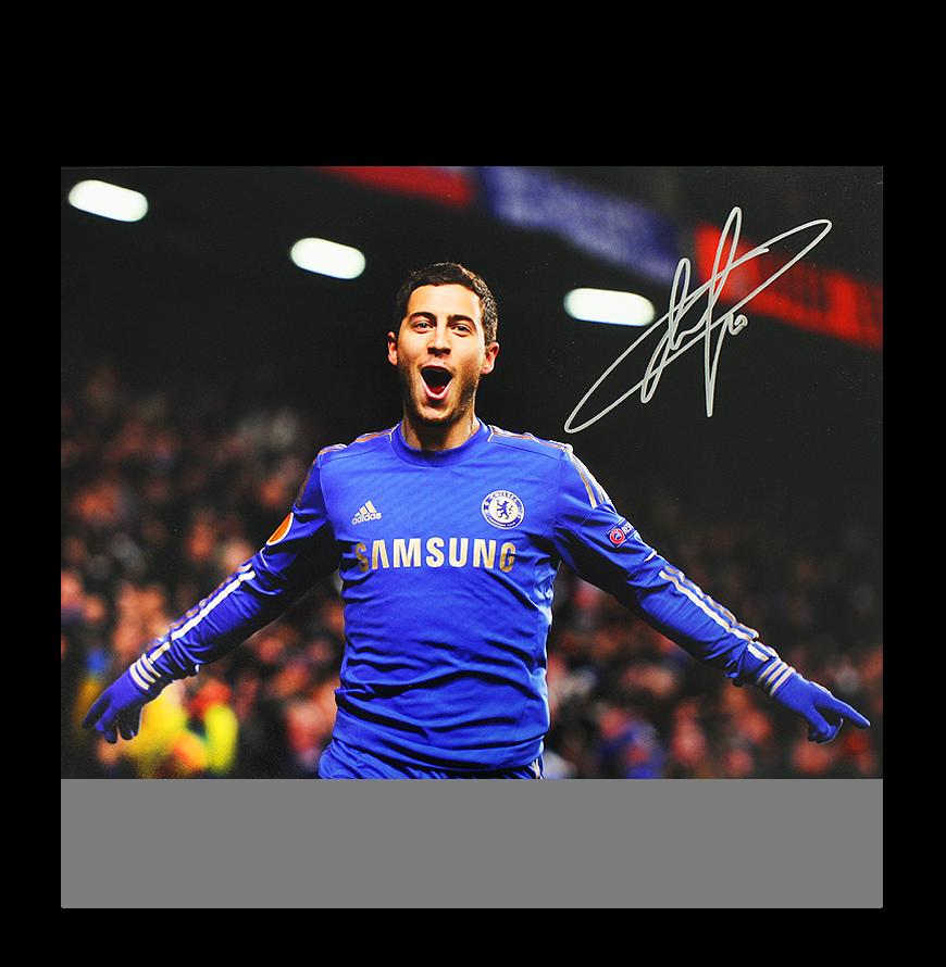 Eden Hazard Signed Chelsea Photo Uefa Europa League Goal Autograph Ebay
