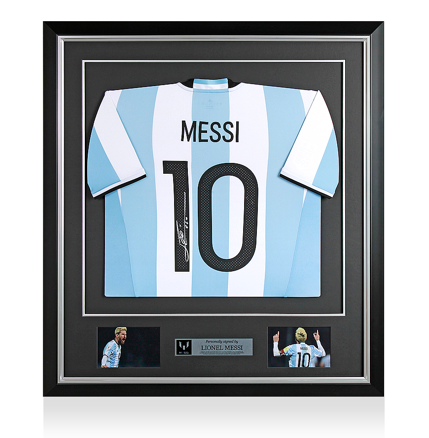 Lionel Messi Official Back Signed and Framed Argentina 2016 Home Shirt