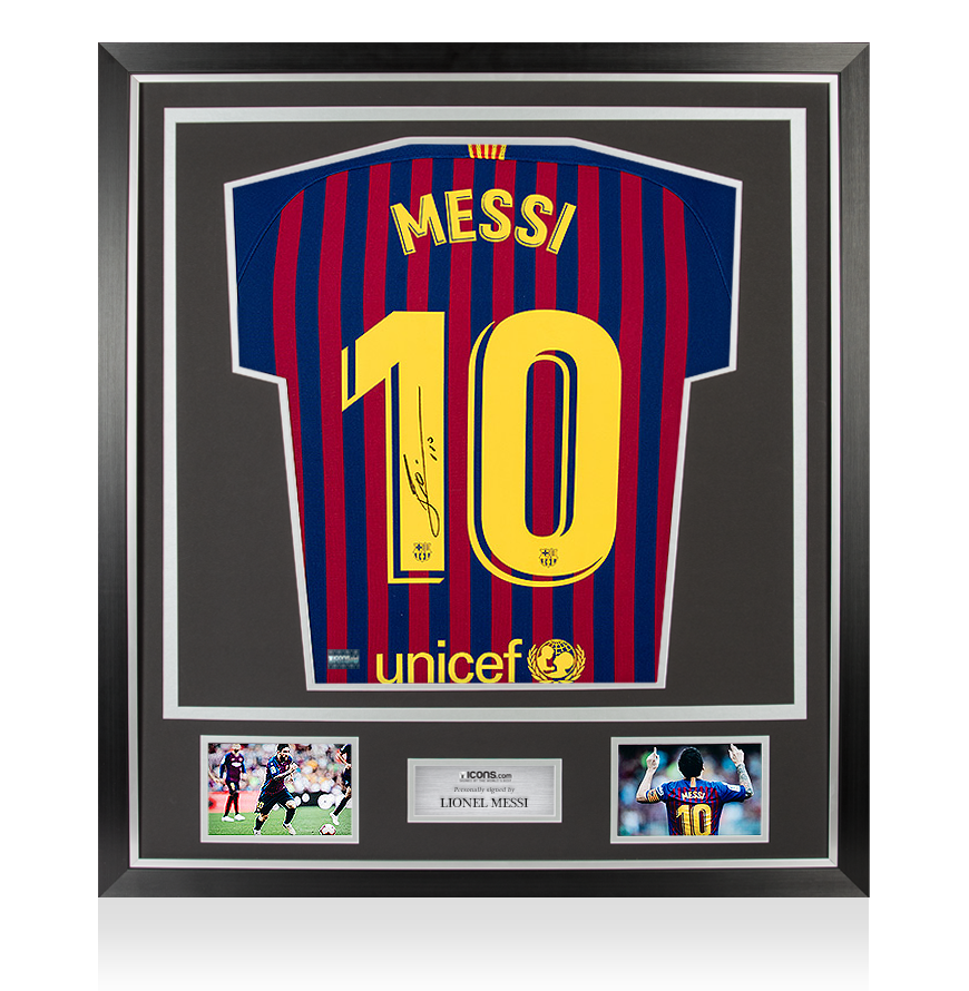 d7d17377c Lionel Messi Official Back Signed Barcelona 2018-19 Home Shirt In Classic  Frame