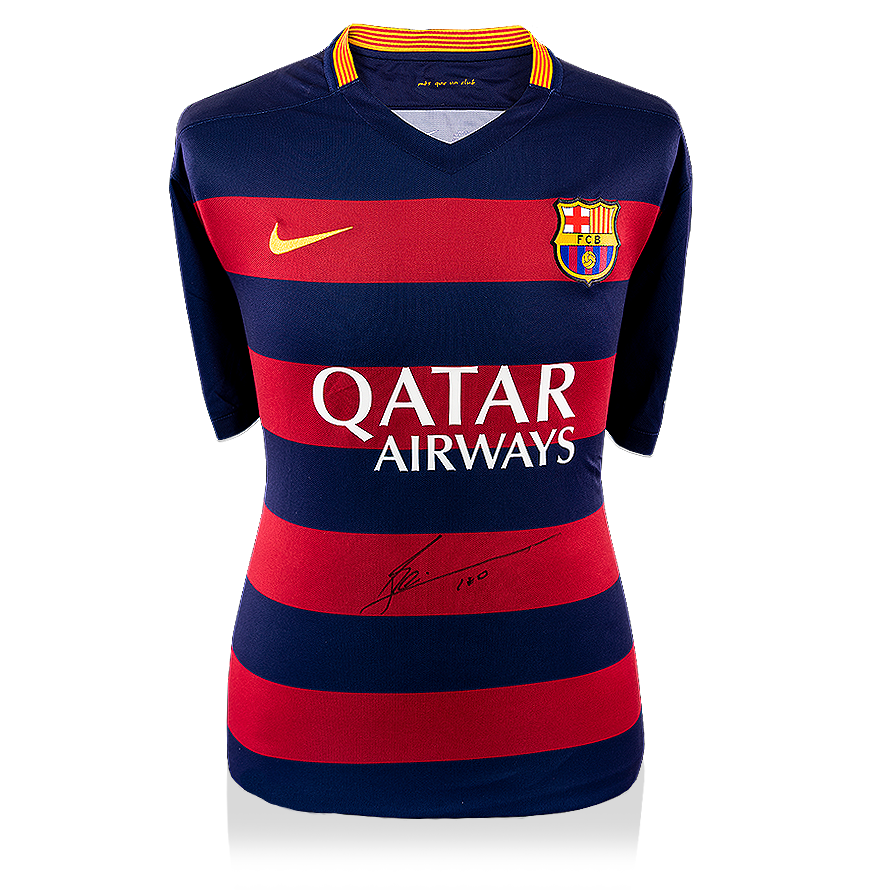 56ab21f09 Lionel Messi Official Front Signed Barcelona 2015-16 Home Shirt ...