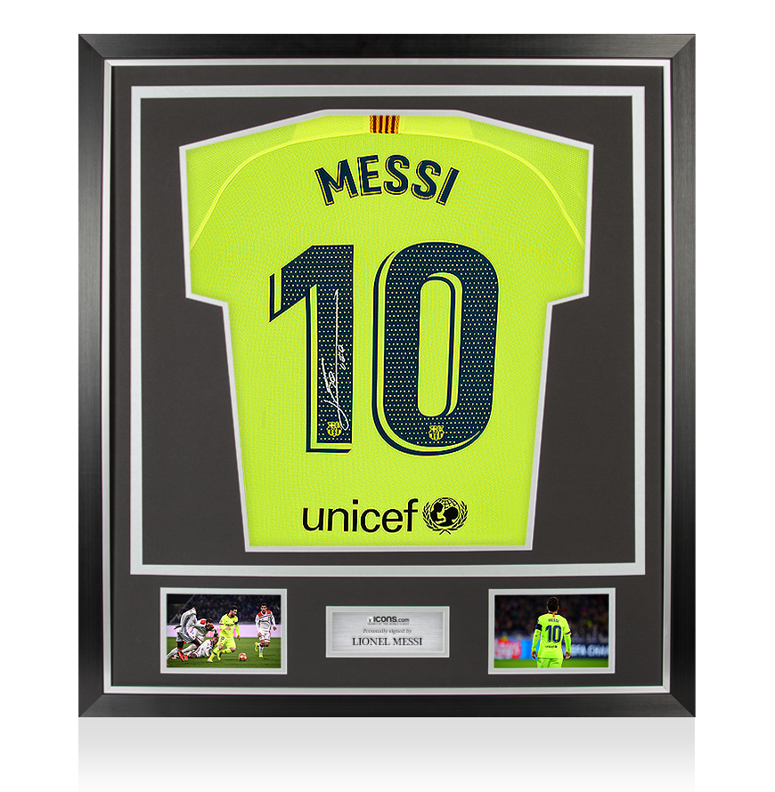 Details about Lionel Messi Official Back Signed FC Barcelona 2018-19 Away  Shirt In Classic Fra