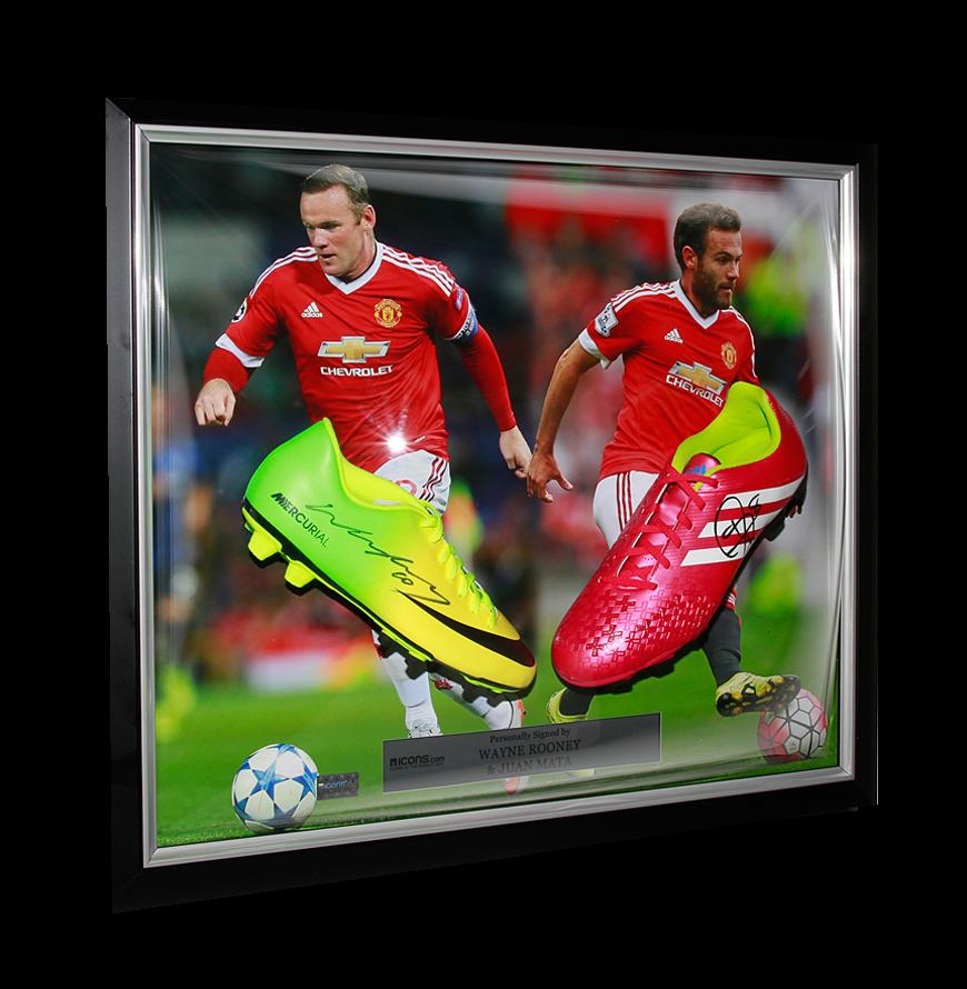 9836ba45bfa PRE-FRAMED Wayne Rooney   Juan Mata Signed Manchester United Boots in Dual  Framing