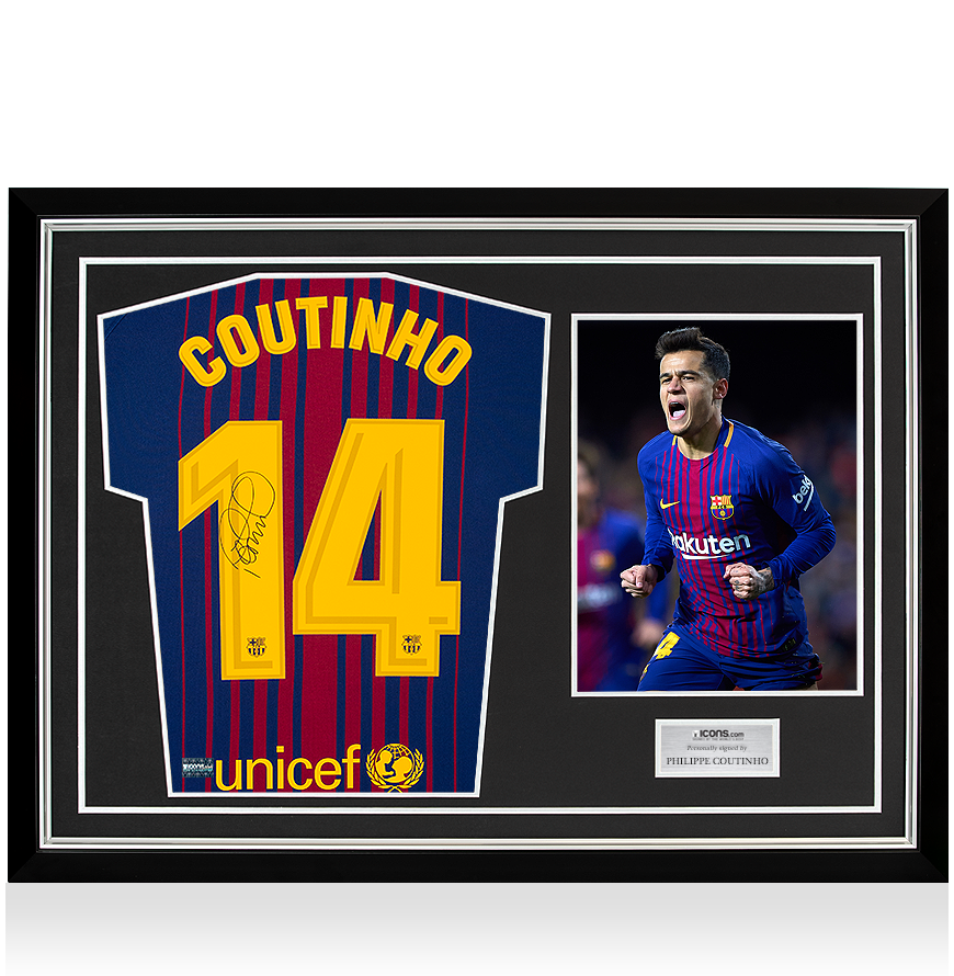 b35d5e46a Philippe Coutinho Back Signed FC Barcelona 2017-18 Home Shirt In Hero  Frame  Option