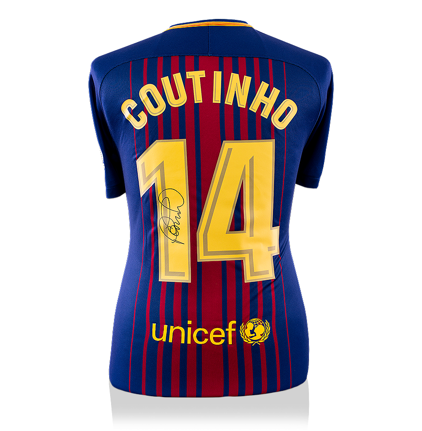 Philippe Coutinho Signed Fc Barcelona 2017 18 Home Shirt With Fan Style Numbers Ebay
