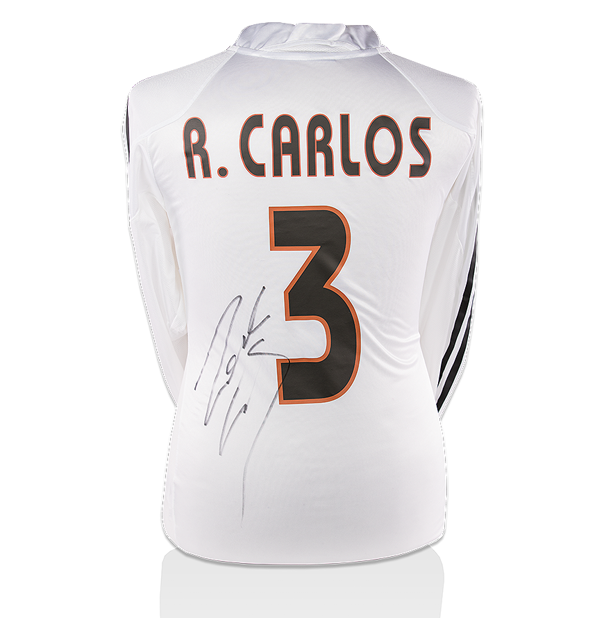 642c982a32d Roberto Carlos Back Signed Real Madrid 2004-05 Home Shirt Autograph ...