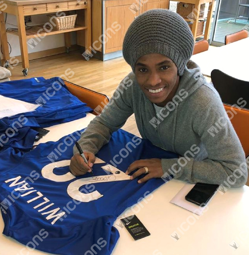 10421f248 Willian Signed Chelsea 2017-18 Home Shirt Autograph Jersey