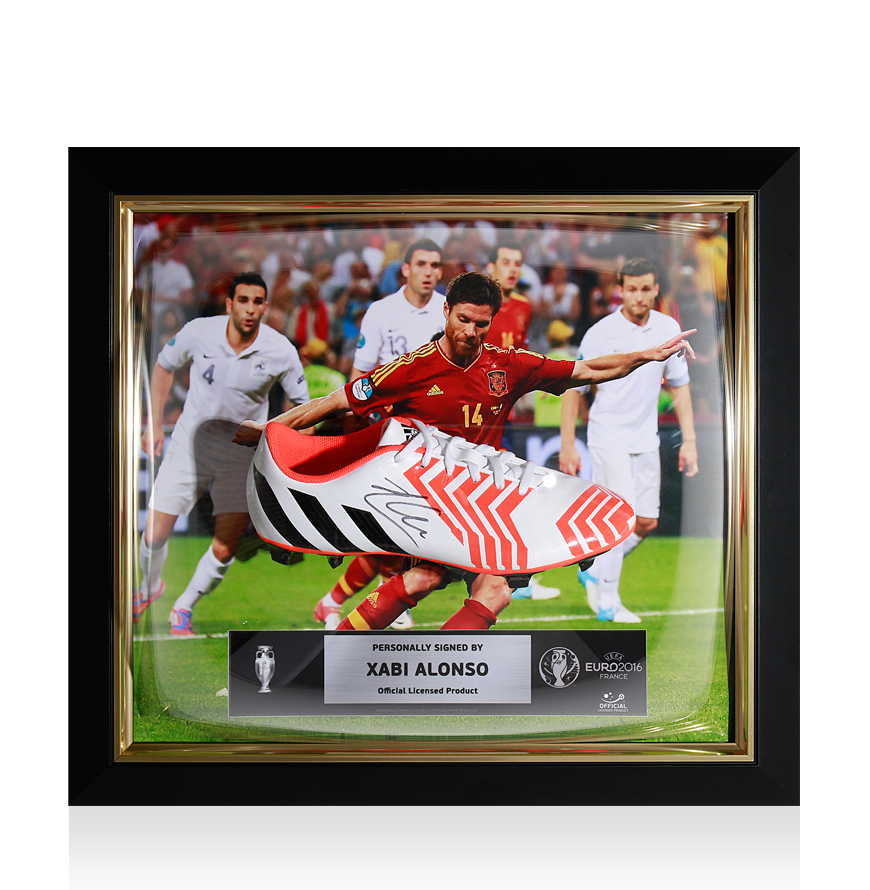 PREFRAMED Xabi Alonso Official UEFA EURO 2016 Signed and Framed White Adidas Predator Boot