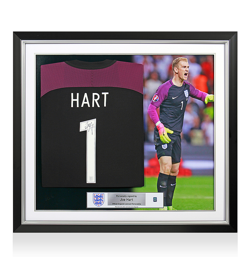 Sports Memorabilia Joe Hart Official England Back Signed and Framed 2016-17 Home Shirt