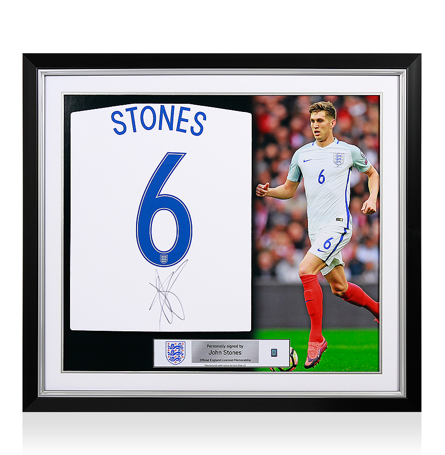 Sports Memorabilia John Stones Official England Back Signed and Framed 2016-17 Home Shirt