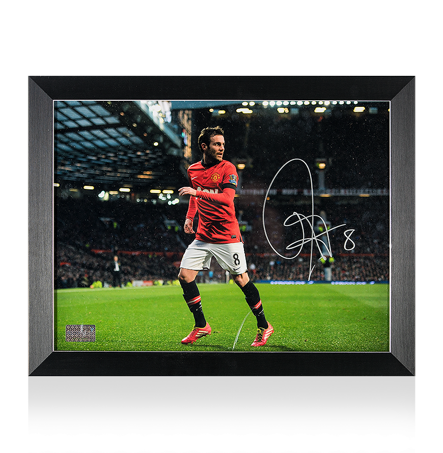 f3850f1e4 PRE-FRAMED Juan Mata Signed and Framed Manchester United Photo  In Action  At Old