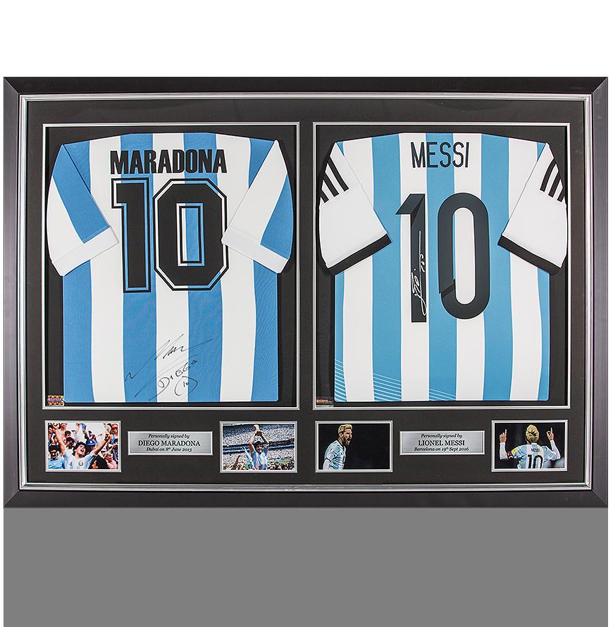 PREFRAMED Lionel Messi Signed Argentina 2014 Shirt & Diego Maradona Signed Argentina 1986 Shirt In Master Frame
