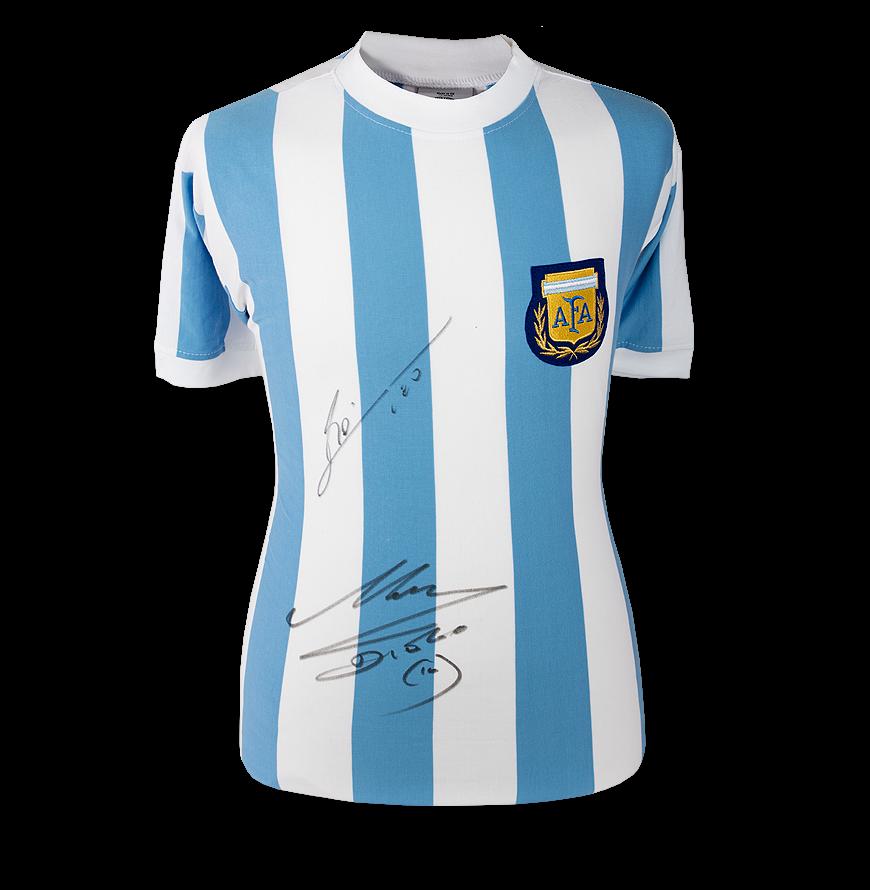Lionel Messi & Diego Maradona Front Signed Argentina Shirt