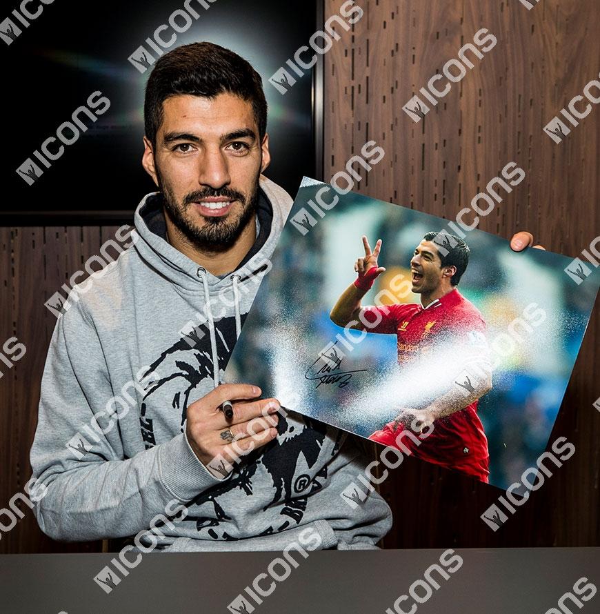 f8b2ba657d502 Details about Luis Suarez Signed Liverpool Photo: Goal vs Everton Autograph