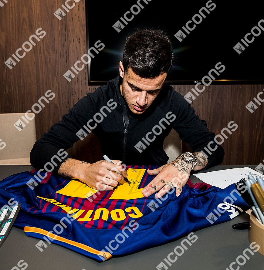8912cdb47 Philippe Coutinho Back Signed FC Barcelona 2017-18 Home Shirt In ...