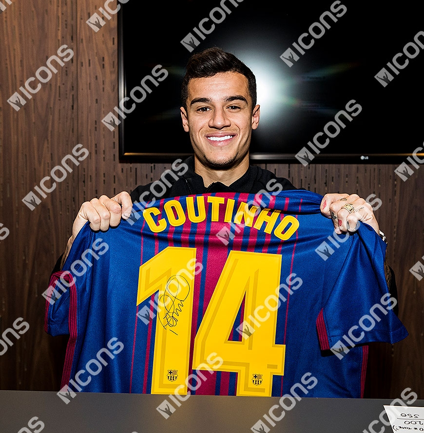 e9ea480dc Philippe Coutinho Back Signed FC Barcelona 2017-18 Home Shirt ...