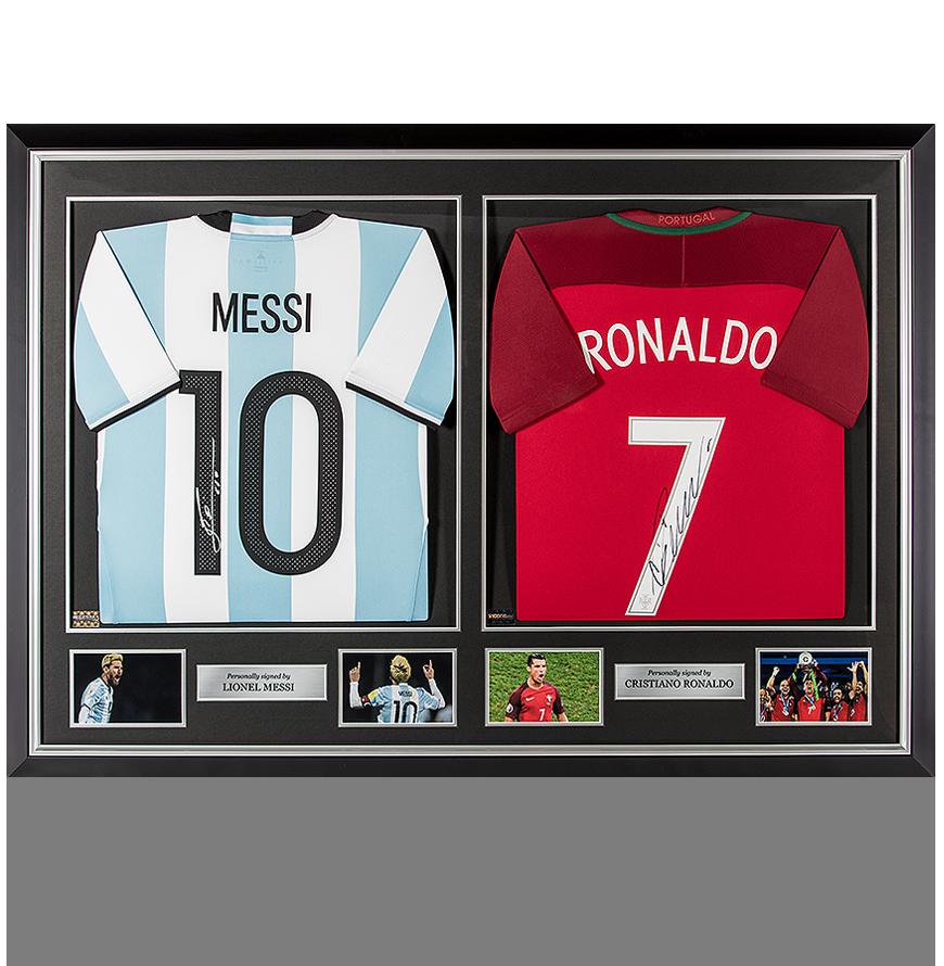 Lionel Messi Signed Argentina Shirt & Cristiano Ronaldo Signed Portugal Shirt Master Frame
