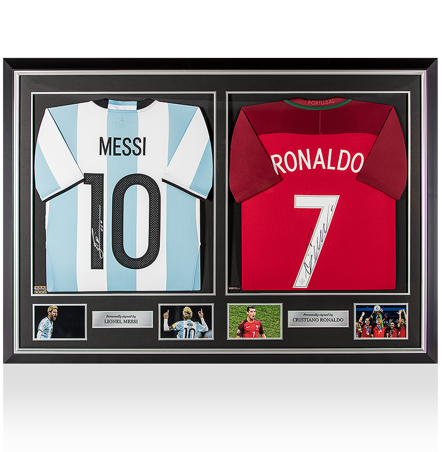 PREFRAMED Lionel Messi Signed Argentina Shirt & Cristiano Ronaldo Signed Portugal Shirt Master Frame