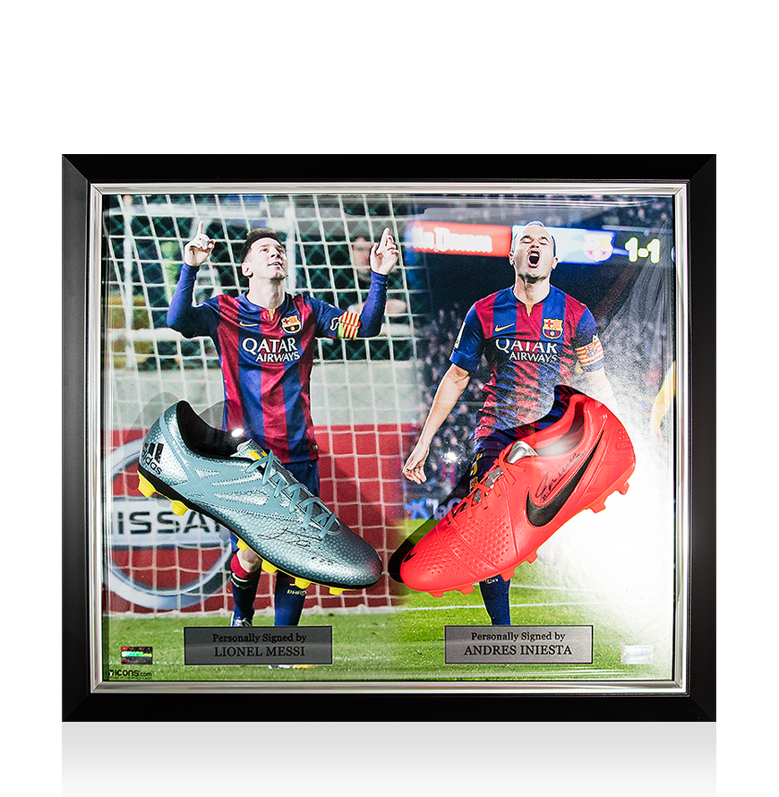 PREFRAMED Lionel Messi Signed Adidas 15.1 Boot & Andres Iniesta Signed Nike Mercurial Boot In Barcelona Master Frame