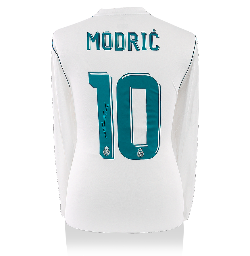 Luka Modric Back Signed Real Madrid 2017 18 Home Shirt Autograph Jersey Ebay