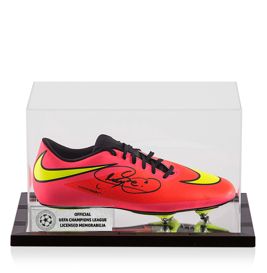 official photos adf39 54065 Details about Neymar Jr Official UEFA Champions League Signed Peach Nike  Hypervenom Phantom Bo