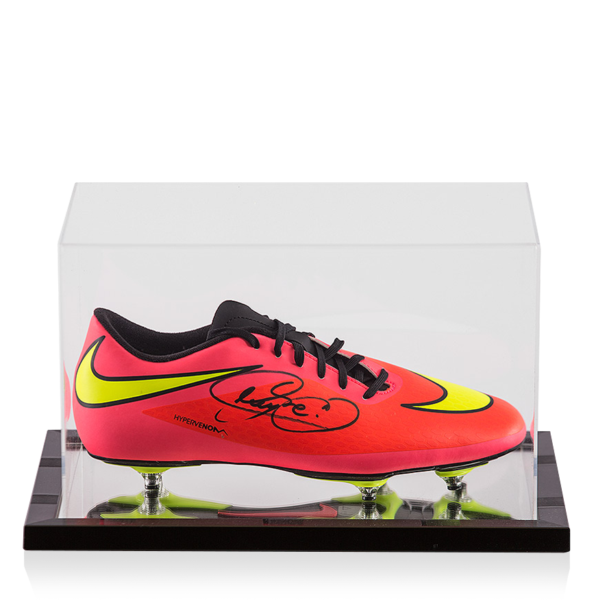 sports shoes 14faa b1c96 Details about Neymar Jr Signed Peach Nike Hypervenom Phantom Boot In  Acrylic Case