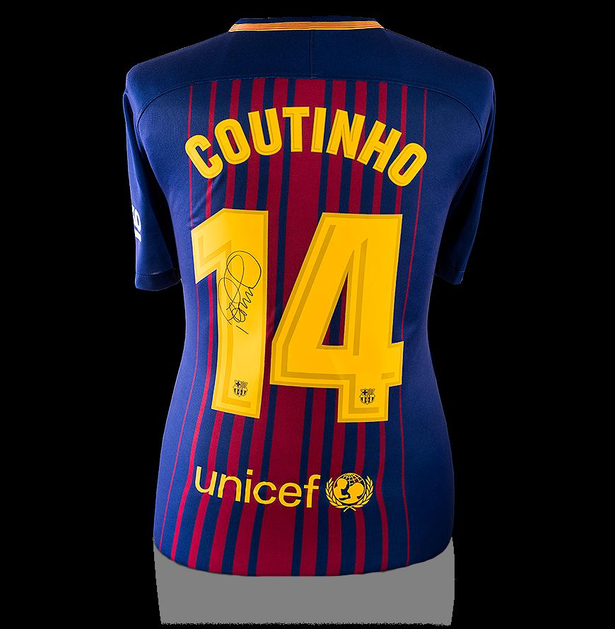 a526e105a7e Philippe Coutinho Back Signed FC Barcelona 2017-18 Home Shirt ...