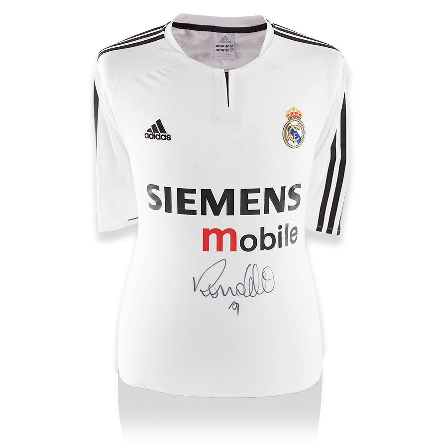 9146dc38923 Ronaldo Front Signed Real Madrid 2003-04 Home Shirt Autograph Jersey ...