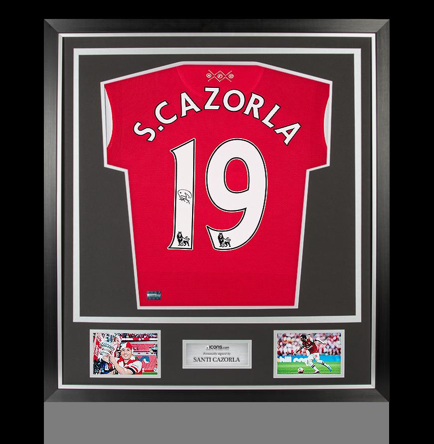 Santi Cazorla Back Signed Arsenal Home Shirt In Classic Frame