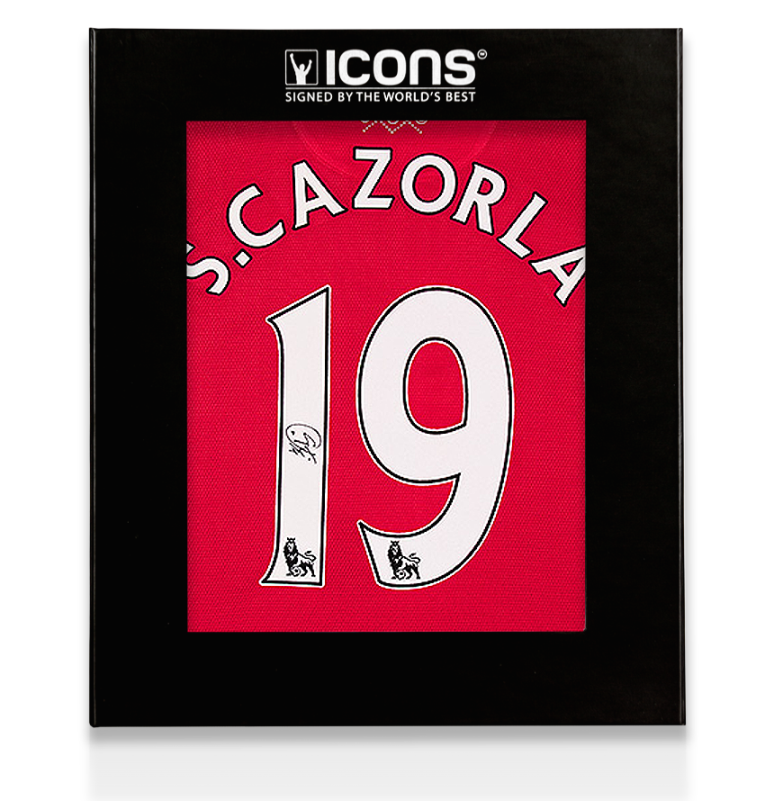Santi Cazorla Back Signed Arsenal Home Shirt In Deluxe Packaging